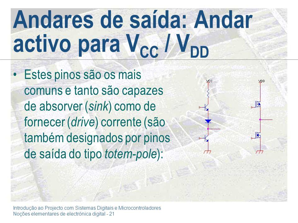 Introdução ao Projecto com Sistemas Digitais e Microcontroladores Noções elementares de electrónica digital - 21 Andares de saída: Andar activo para V