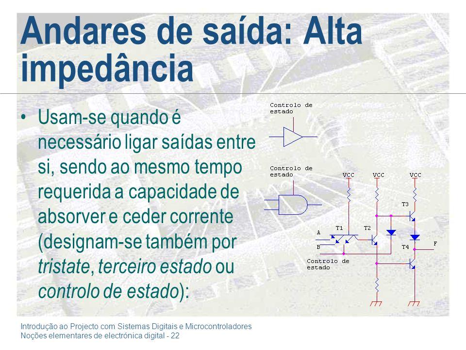 Introdução ao Projecto com Sistemas Digitais e Microcontroladores Noções elementares de electrónica digital - 22 Andares de saída: Alta impedância Usa