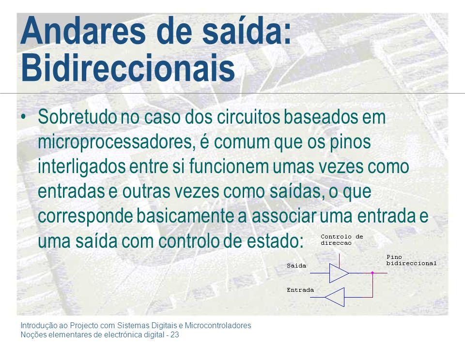 Introdução ao Projecto com Sistemas Digitais e Microcontroladores Noções elementares de electrónica digital - 23 Andares de saída: Bidireccionais Sobr