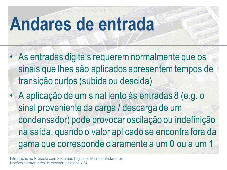 Introdução ao Projecto com Sistemas Digitais e Microcontroladores Noções elementares de electrónica digital - 24 Andares de entrada As entradas digita