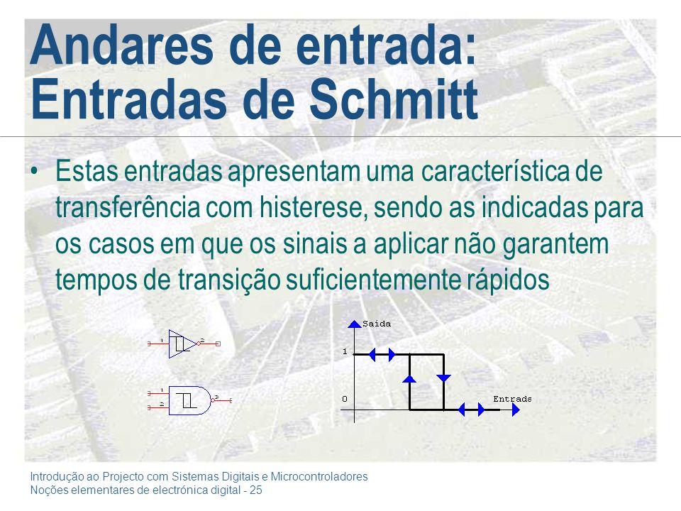 Introdução ao Projecto com Sistemas Digitais e Microcontroladores Noções elementares de electrónica digital - 25 Andares de entrada: Entradas de Schmi