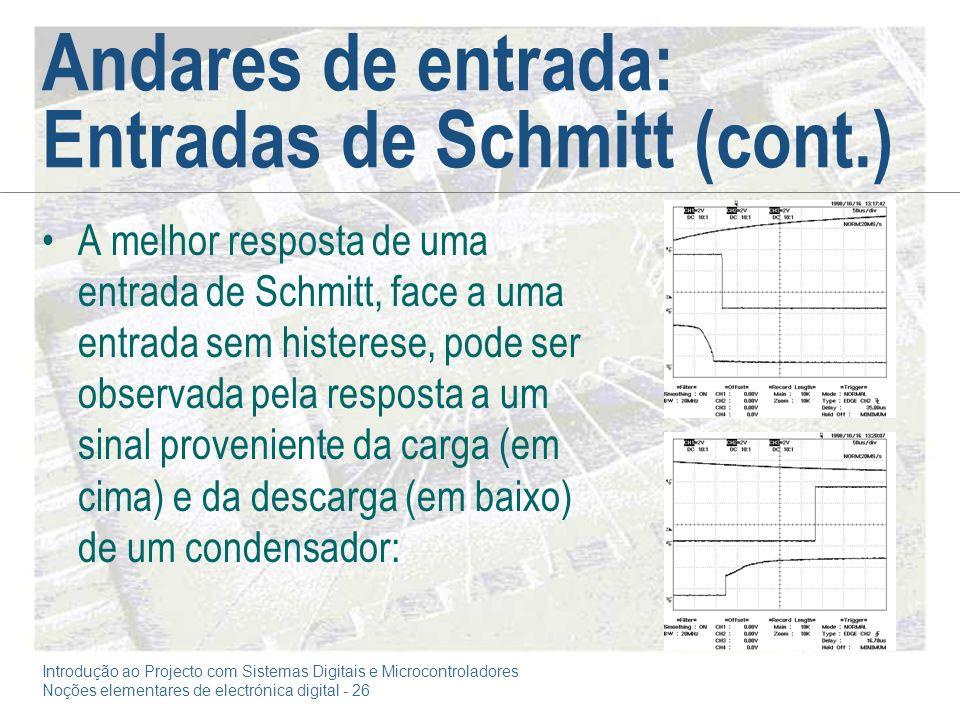 Introdução ao Projecto com Sistemas Digitais e Microcontroladores Noções elementares de electrónica digital - 26 Andares de entrada: Entradas de Schmi