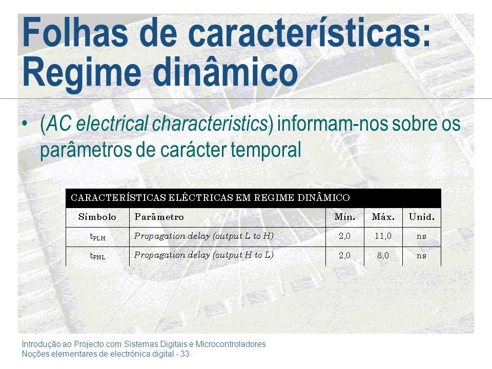 Introdução ao Projecto com Sistemas Digitais e Microcontroladores Noções elementares de electrónica digital - 33 Folhas de características: Regime din