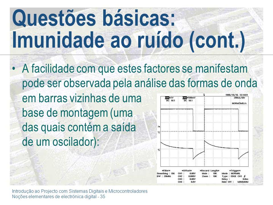 Introdução ao Projecto com Sistemas Digitais e Microcontroladores Noções elementares de electrónica digital - 35 Questões básicas: Imunidade ao ruído
