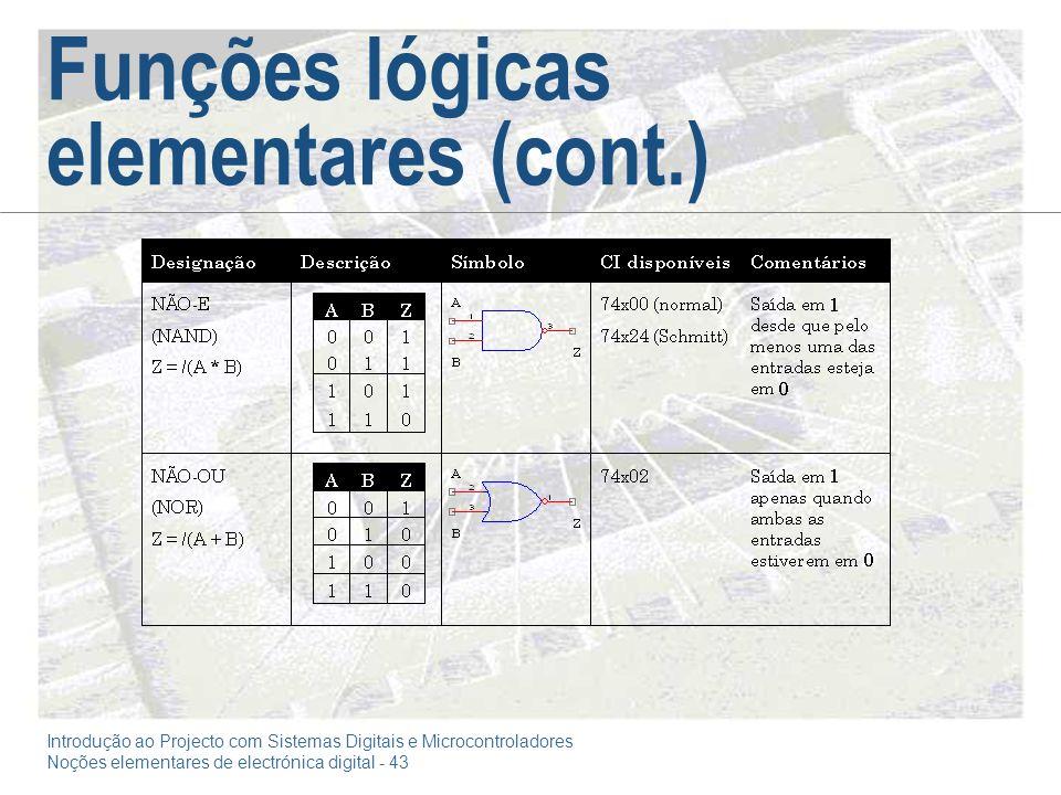 Introdução ao Projecto com Sistemas Digitais e Microcontroladores Noções elementares de electrónica digital - 43 Funções lógicas elementares (cont.)
