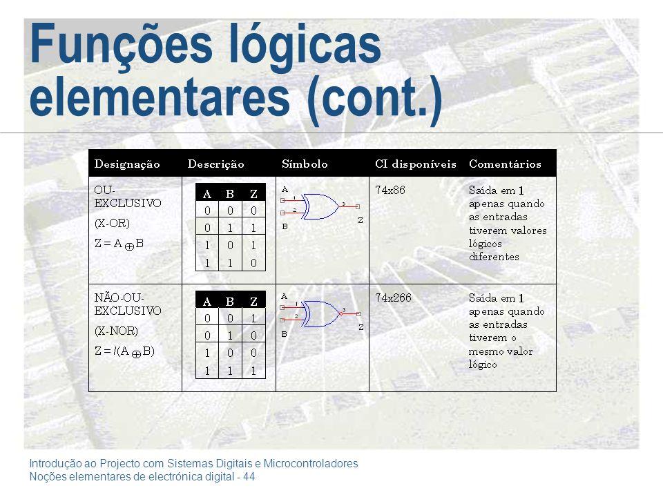 Introdução ao Projecto com Sistemas Digitais e Microcontroladores Noções elementares de electrónica digital - 44 Funções lógicas elementares (cont.)