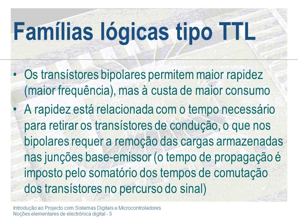 Introdução ao Projecto com Sistemas Digitais e Microcontroladores Noções elementares de electrónica digital - 5 Famílias lógicas tipo TTL Os transísto