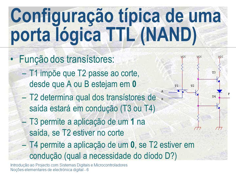 Introdução ao Projecto com Sistemas Digitais e Microcontroladores Noções elementares de electrónica digital - 6 Configuração típica de uma porta lógica TTL (NAND) Função dos transístores: –T1 impõe que T2 passe ao corte, desde que A ou B estejam em 0 –T2 determina qual dos transístores de saída estará em condução (T3 ou T4) –T3 permite a aplicação de um 1 na saída, se T2 estiver no corte –T4 permite a aplicação de um 0, se T2 estiver em condução (qual a necessidade do díodo D?)