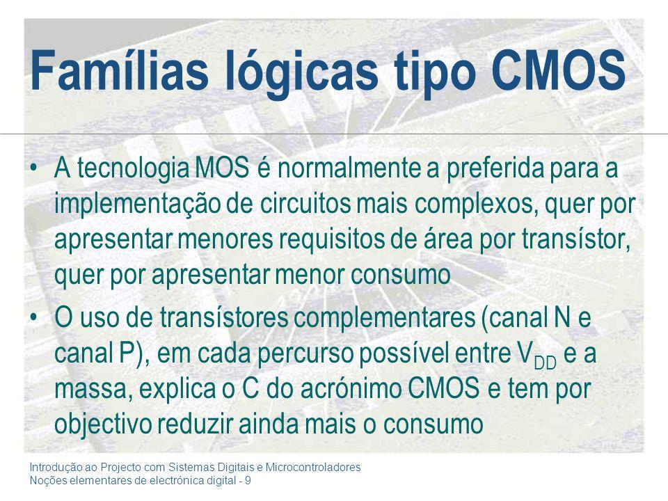 Introdução ao Projecto com Sistemas Digitais e Microcontroladores Noções elementares de electrónica digital - 9 Famílias lógicas tipo CMOS A tecnologi