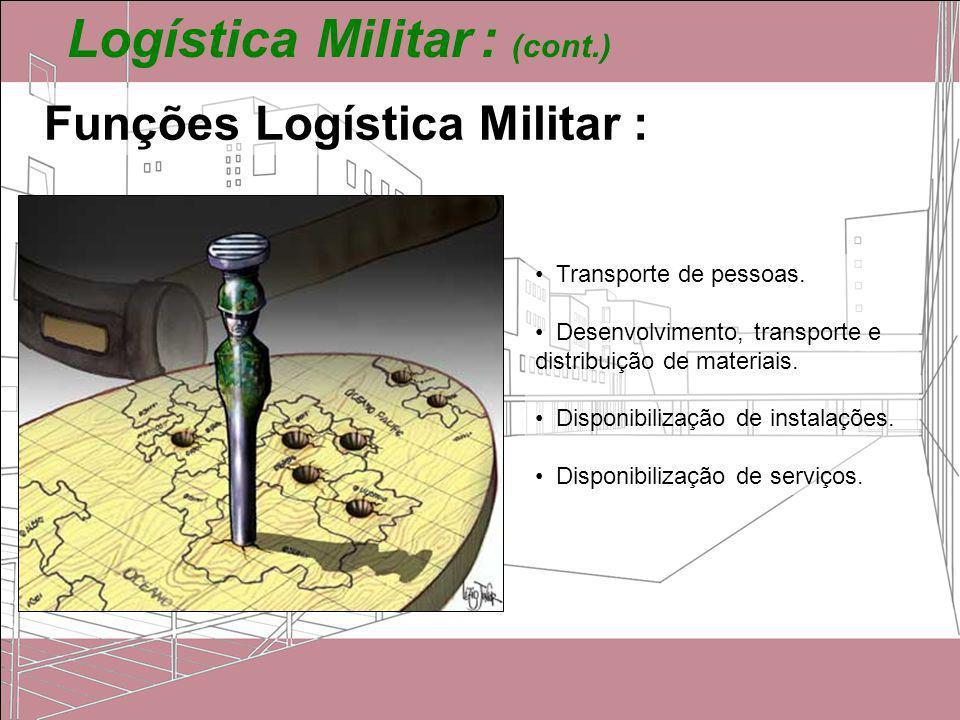 Logística Militar : (cont.) Funções Logística Militar : Transporte de pessoas. Desenvolvimento, transporte e distribuição de materiais. Disponibilizaç