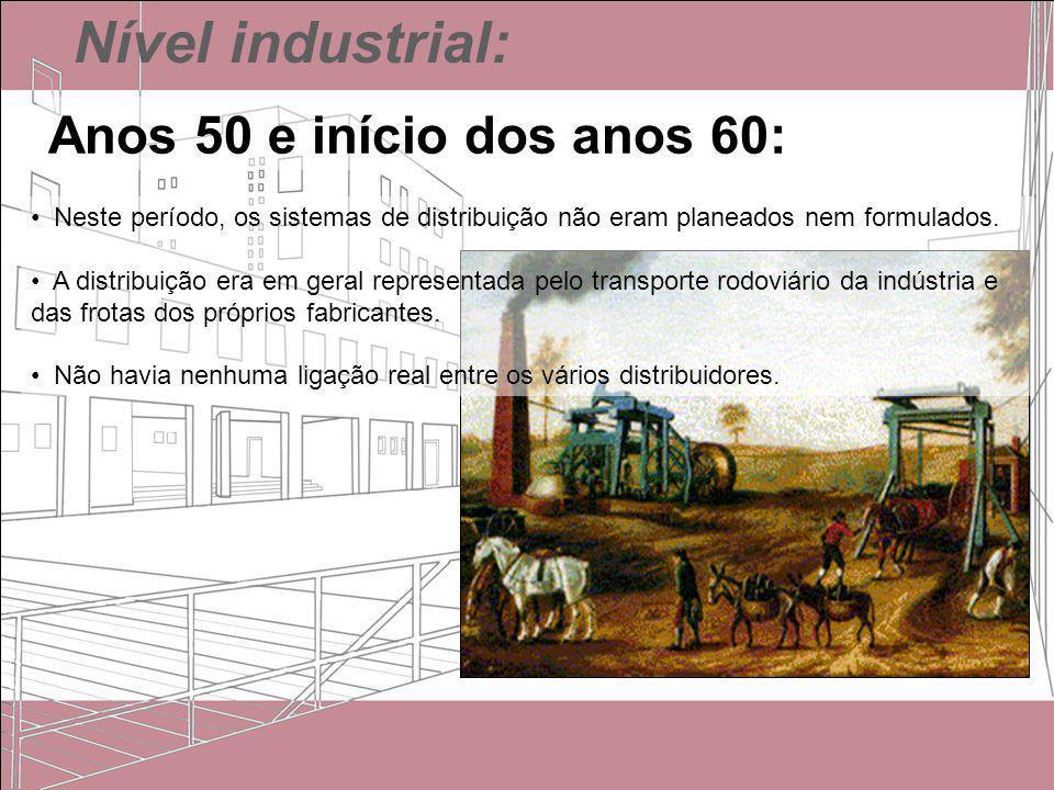 Nível industrial: Anos 50 e início dos anos 60: Neste período, os sistemas de distribuição não eram planeados nem formulados. A distribuição era em ge