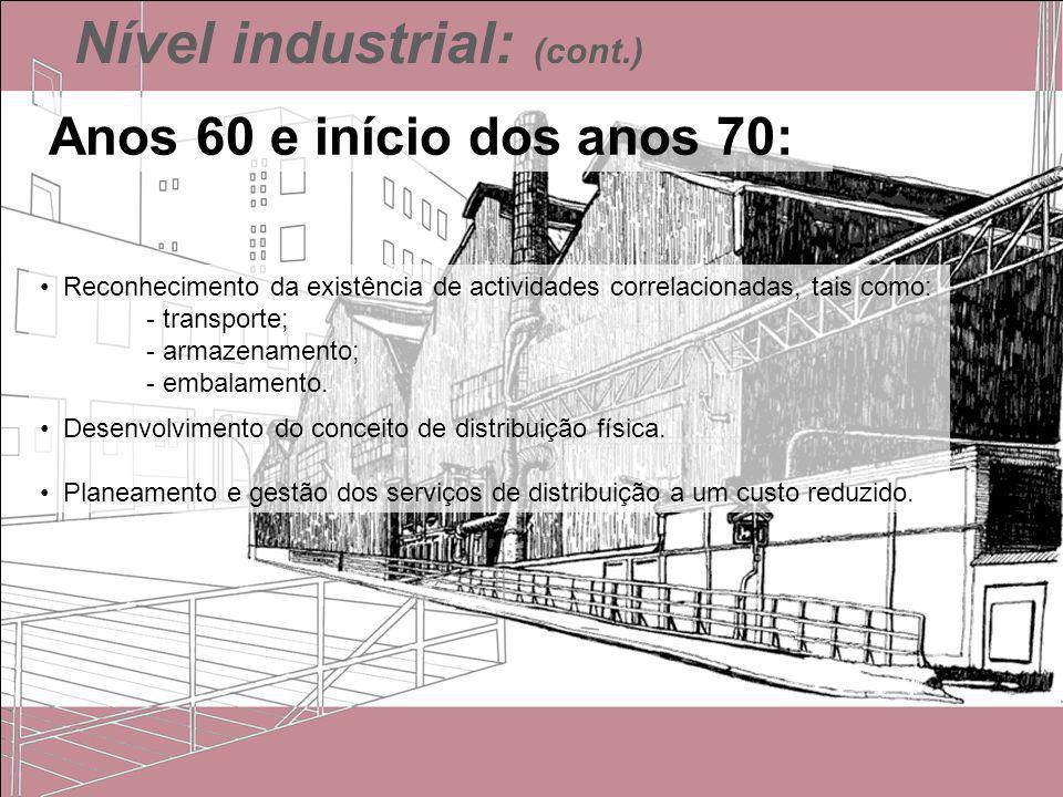 Nível industrial: (cont.) Reconhecimento da existência de actividades correlacionadas, tais como: - transporte; - armazenamento; - embalamento. Desenv