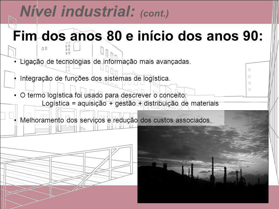 Nível industrial: (cont.) Fim dos anos 80 e início dos anos 90: Ligação de tecnologias de informação mais avançadas. Integração de funções dos sistema
