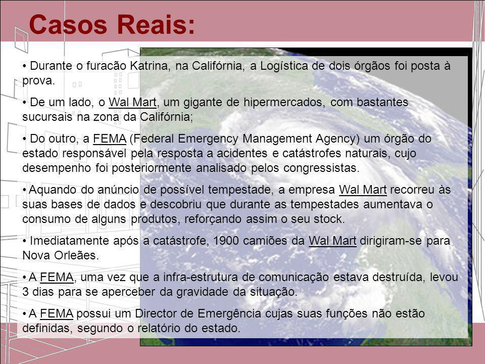 Casos Reais: Durante o furacão Katrina, na Califórnia, a Logística de dois órgãos foi posta à prova. De um lado, o Wal Mart, um gigante de hipermercad