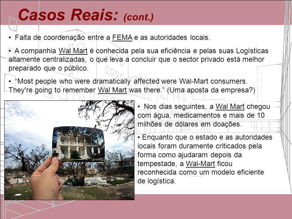 Casos Reais: (cont.) Falta de coordenação entre a FEMA e as autoridades locais. A companhia Wal Mart é conhecida pela sua eficiência e pelas suas Logí
