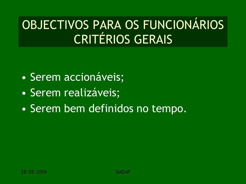 28/05/2004SIADAP OBJECTIVOS PARA OS FUNCIONÁRIOS CRITÉRIOS GERAIS Serem accionáveis; Serem realizáveis; Serem bem definidos no tempo.