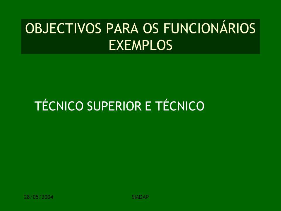 28/05/2004SIADAP OBJECTIVOS PARA OS FUNCIONÁRIOS EXEMPLOS TÉCNICO SUPERIOR E TÉCNICO
