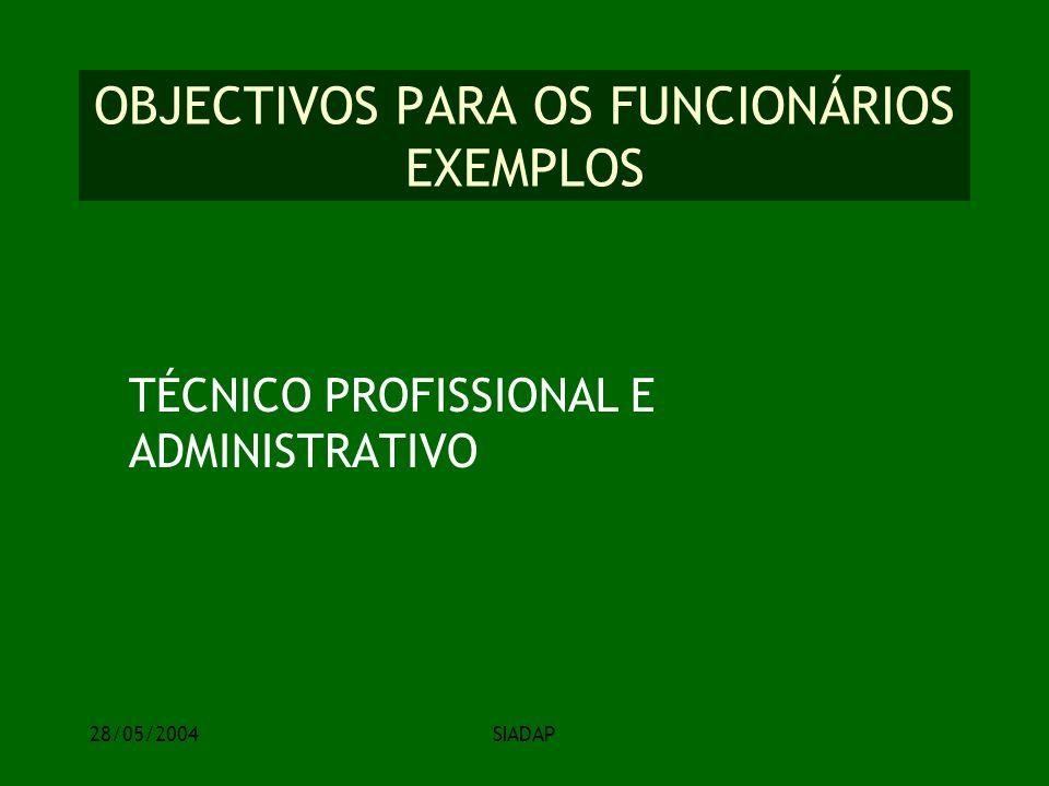 28/05/2004SIADAP OBJECTIVOS PARA OS FUNCIONÁRIOS EXEMPLOS TÉCNICO PROFISSIONAL E ADMINISTRATIVO