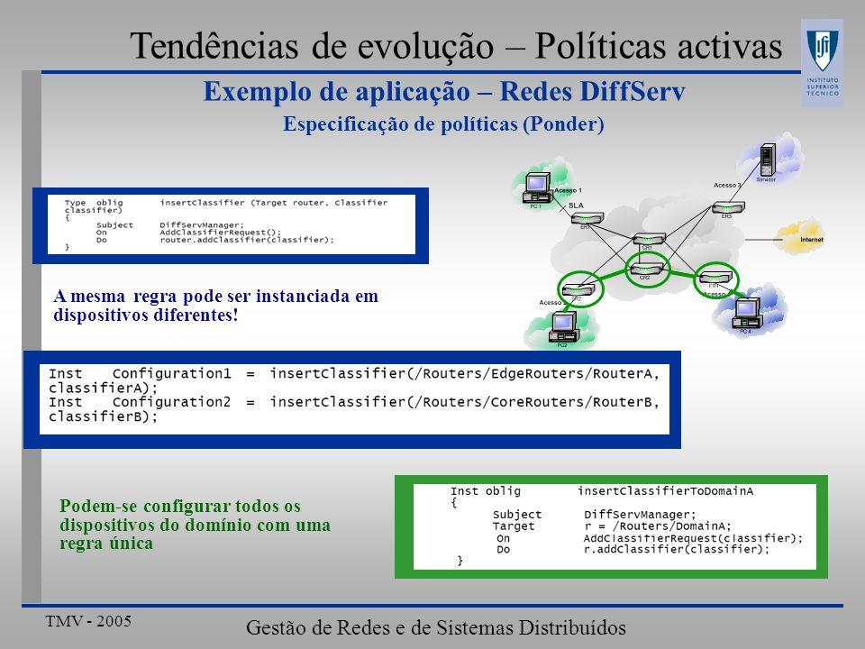 TMV - 2005 Gestão de Redes e de Sistemas Distribuídos Tendências de evolução – Políticas activas Exemplo de aplicação – Redes DiffServ Especificação d
