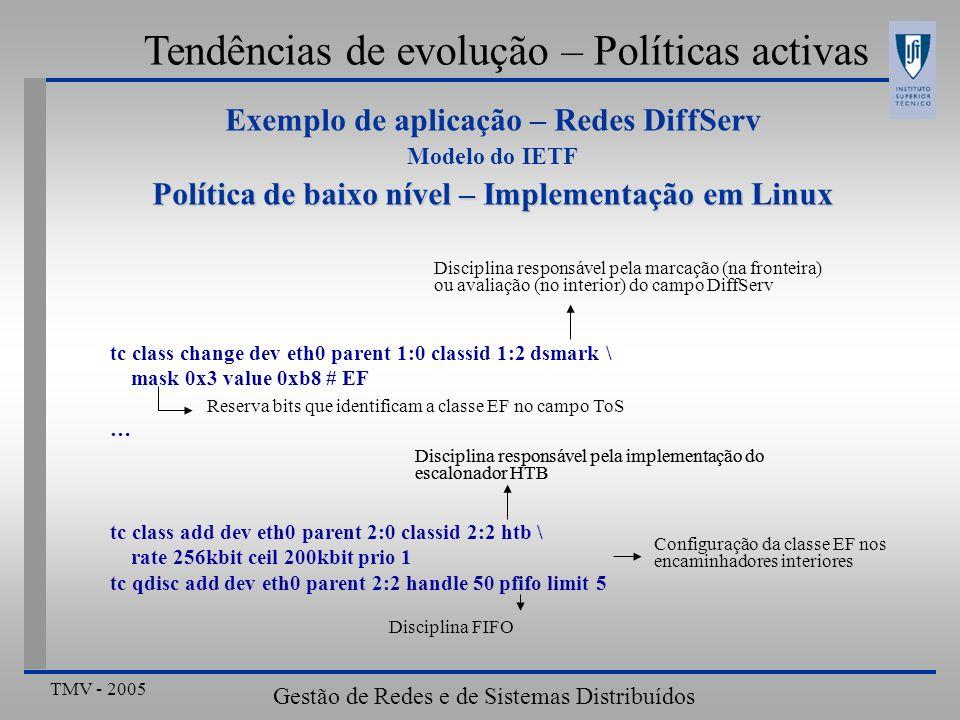 TMV - 2005 Gestão de Redes e de Sistemas Distribuídos Tendências de evolução – Políticas activas tc class change dev eth0 parent 1:0 classid 1:2 dsmar
