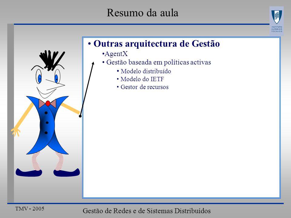 TMV - 2005 Gestão de Redes e de Sistemas Distribuídos Resumo da aula Outras arquitectura de Gestão AgentX Gestão baseada em políticas activas Modelo d