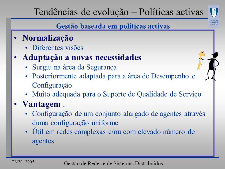 TMV - 2005 Gestão de Redes e de Sistemas Distribuídos Tendências de evolução – Políticas activas Gestão baseada em políticas activas – COPS-PR