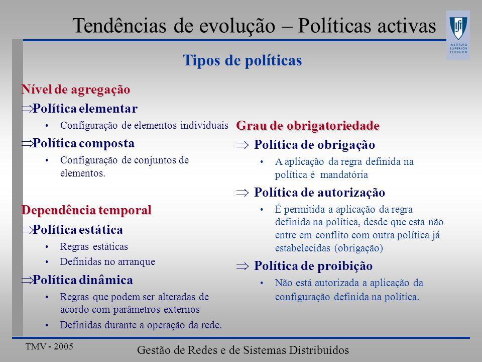 TMV - 2005 Gestão de Redes e de Sistemas Distribuídos Tendências de evolução – Políticas activas Tipos de políticas Nível de agregação Política elemen