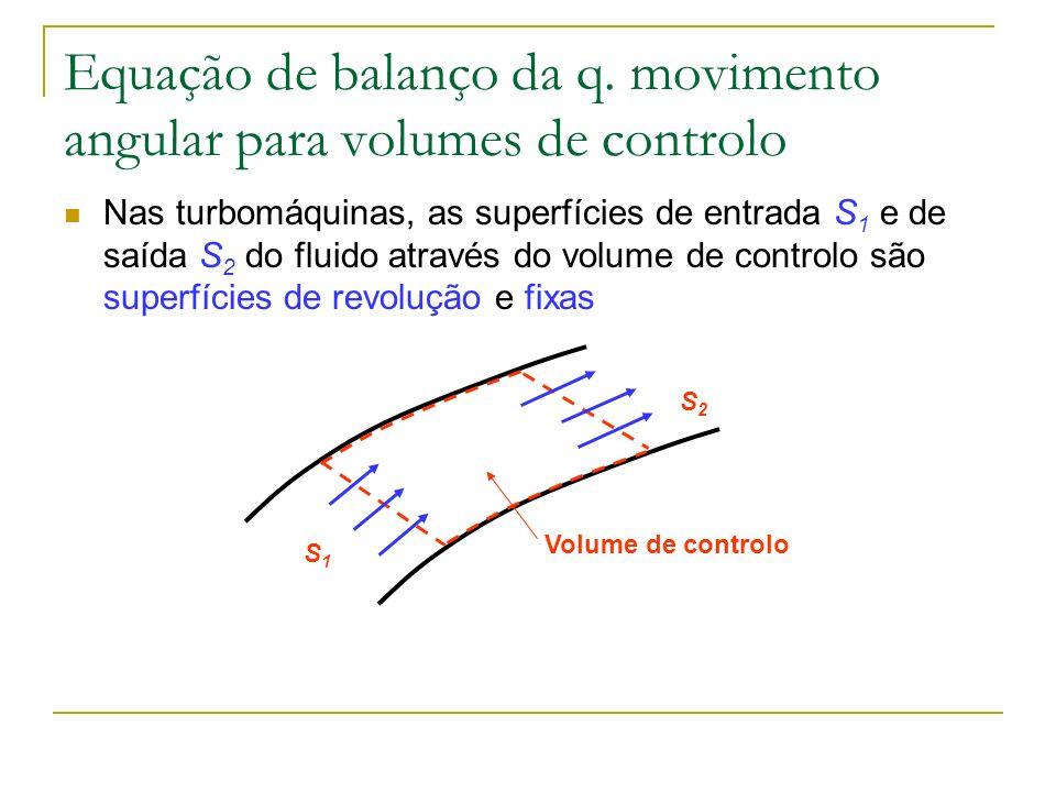 Equação de balanço da q. movimento angular para volumes de controlo Nas turbomáquinas, as superfícies de entrada S 1 e de saída S 2 do fluido através