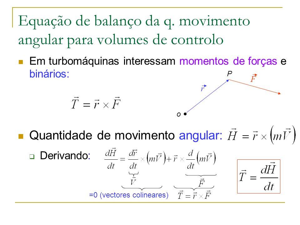 Equação de balanço da q. movimento angular para volumes de controlo Em turbomáquinas interessam momentos de forças e binários: o P F r Quantidade de m