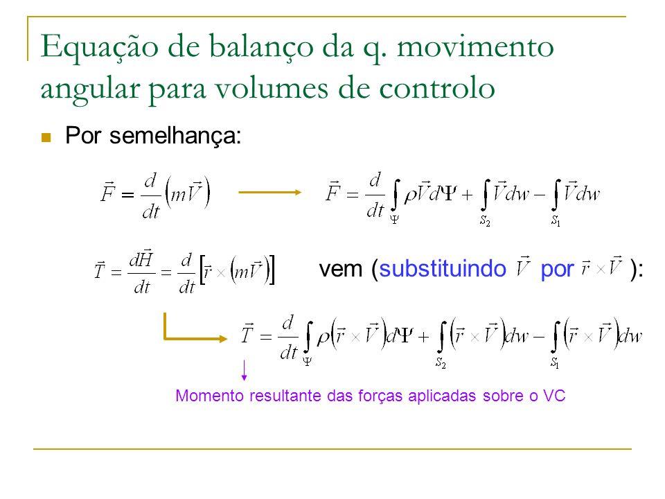 Equação de balanço da q. movimento angular para volumes de controlo Por semelhança: vem (substituindo por ): Momento resultante das forças aplicadas s