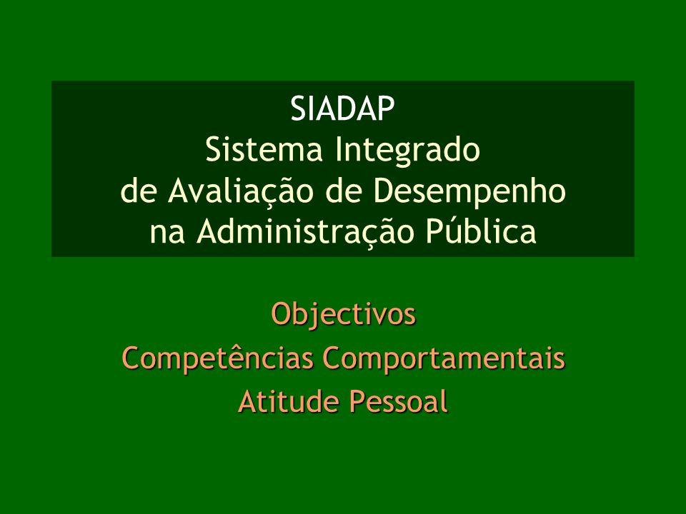 SIADAP Sistema Integrado de Avaliação de Desempenho na Administração Pública Objectivos Competências Comportamentais Atitude Pessoal