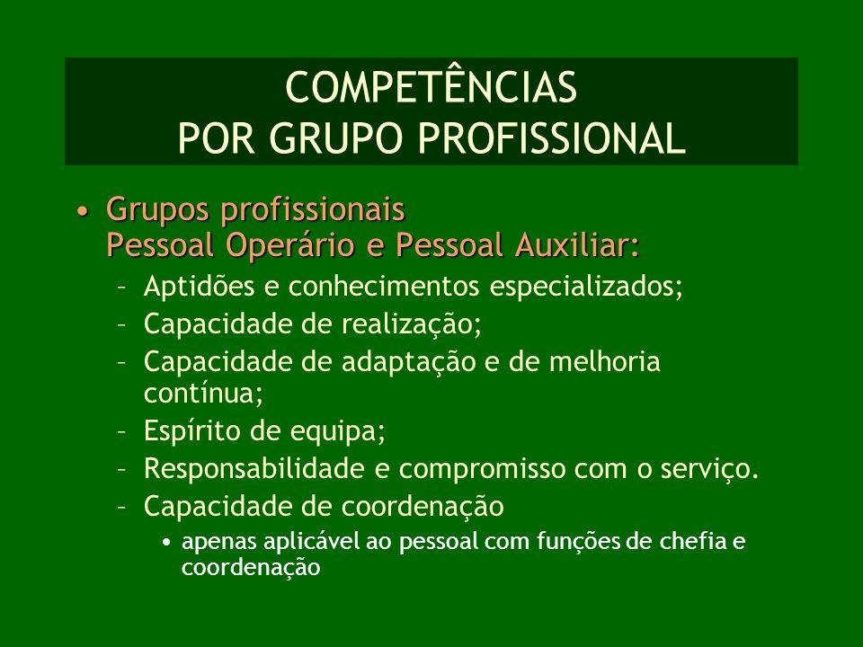 COMPETÊNCIAS POR GRUPO PROFISSIONAL Grupos profissionais Pessoal Operário e Pessoal Auxiliar:Grupos profissionais Pessoal Operário e Pessoal Auxiliar: