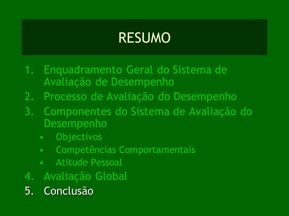 RESUMO 1.Enquadramento Geral do Sistema de Avaliação de Desempenho 2.Processo de Avaliação do Desempenho 3.Componentes do Sistema de Avaliação do Dese