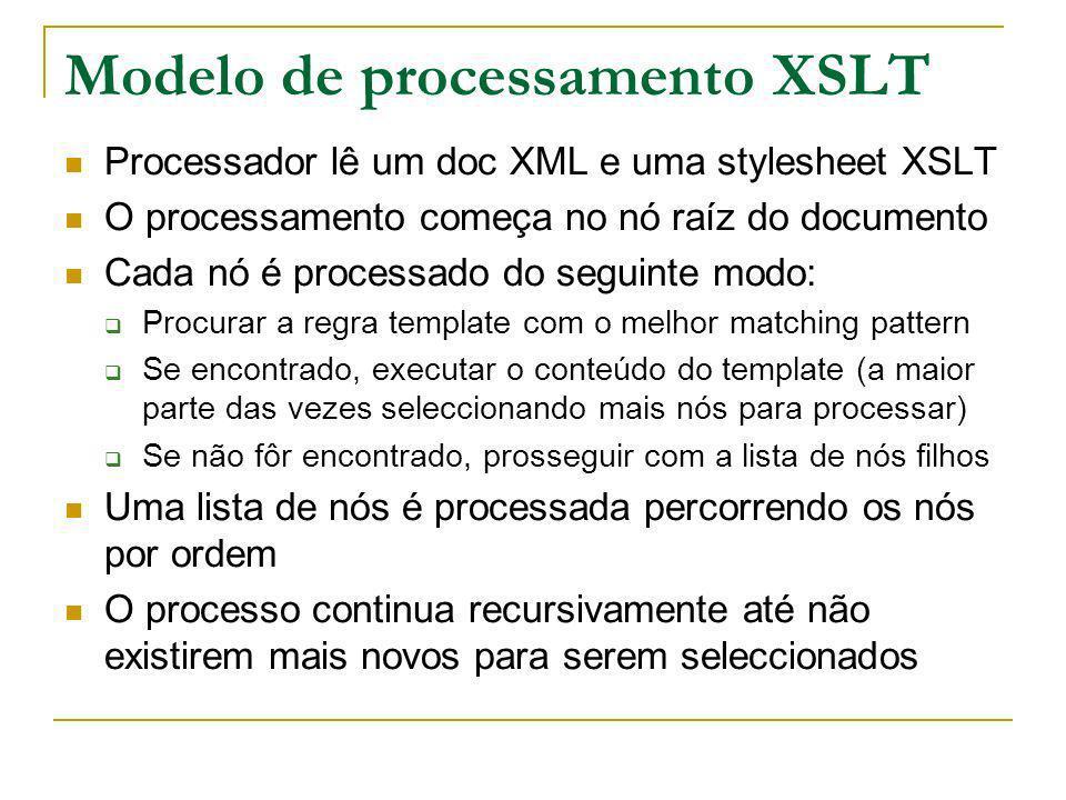 Modelo de processamento XSLT Processador lê um doc XML e uma stylesheet XSLT O processamento começa no nó raíz do documento Cada nó é processado do se