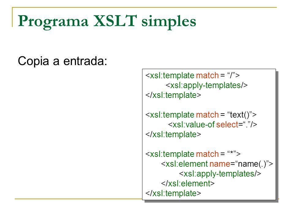 Programa XSLT simples Copia a entrada: