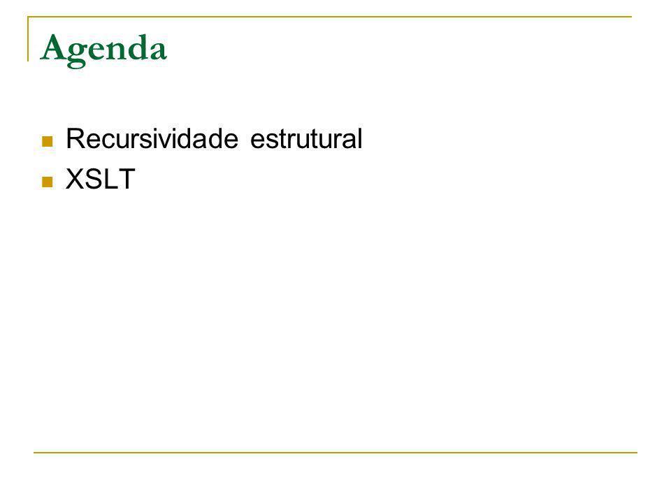 Agenda Recursividade estrutural XSLT