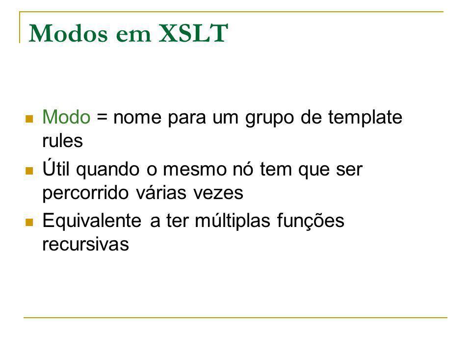 Modos em XSLT Modo = nome para um grupo de template rules Útil quando o mesmo nó tem que ser percorrido várias vezes Equivalente a ter múltiplas funçõ