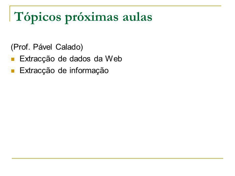 Tópicos próximas aulas (Prof. Pável Calado) Extracção de dados da Web Extracção de informação
