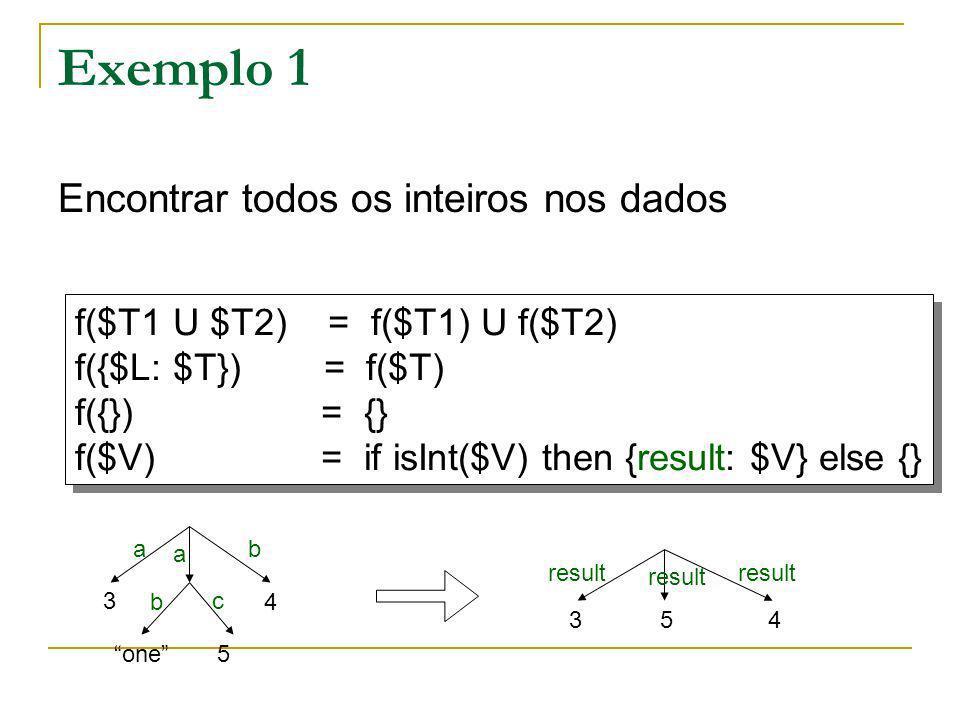 Exemplo 1 f($T1 U $T2) = f($T1) U f($T2) f({$L: $T}) = f($T) f({}) = {} f($V) = if isInt($V) then {result: $V} else {} f($T1 U $T2) = f($T1) U f($T2)