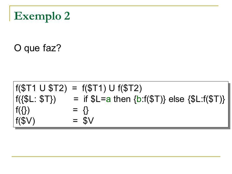 Exemplo 2 O que faz? f($T1 U $T2) = f($T1) U f($T2) f({$L: $T}) = if $L=a then {b:f($T)} else {$L:f($T)} f({}) = {} f($V) = $V f($T1 U $T2) = f($T1) U