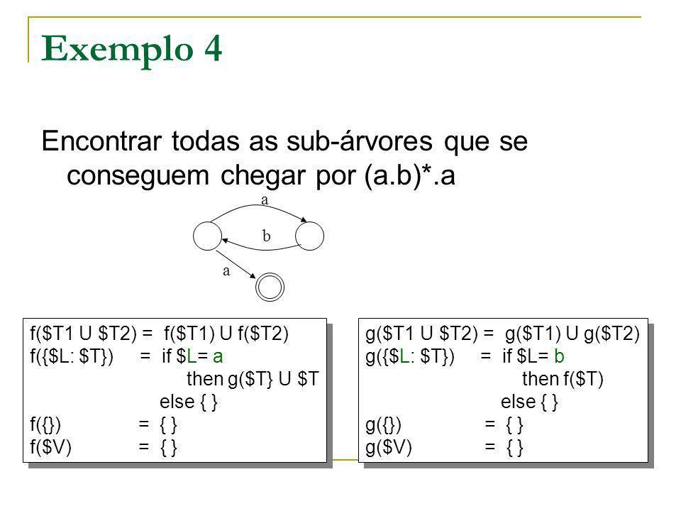 Forma genérica de recursividade estrutural f 1 ($T1 U $T2) = f 1 ($T1) U f 1 ($T2) f 1 ({$L: $T}) = E 1 ($L, f 1 ($T),...,f k ($T), $T) f 1 ({}) = { } f 1 ($V) = { } f 1 ($T1 U $T2) = f 1 ($T1) U f 1 ($T2) f 1 ({$L: $T}) = E 1 ($L, f 1 ($T),...,f k ($T), $T) f 1 ({}) = { } f 1 ($V) = { } f k ($T1 U $T2) = f k ($T1) U f k ($T2) f k ({$L: $T}) = E k ($L, f 1 ($T),...,f k ($T), $T) f k ({}) = { } f k ($V) = { } f k ($T1 U $T2) = f k ($T1) U f k ($T2) f k ({$L: $T}) = E k ($L, f 1 ($T),...,f k ($T), $T) f k ({}) = { } f k ($V) = { }..