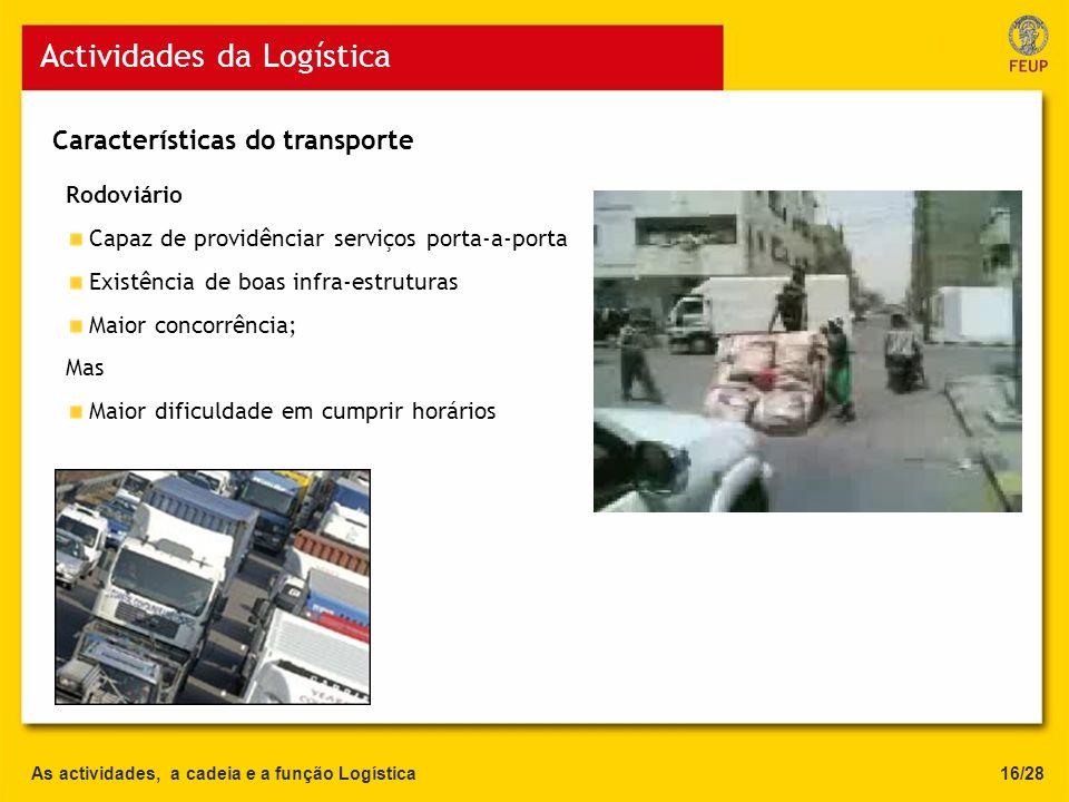 As actividades, a cadeia e a função Logística Actividades da Logística 16/28 Rodoviário Capaz de providênciar serviços porta-a-porta Existência de boa