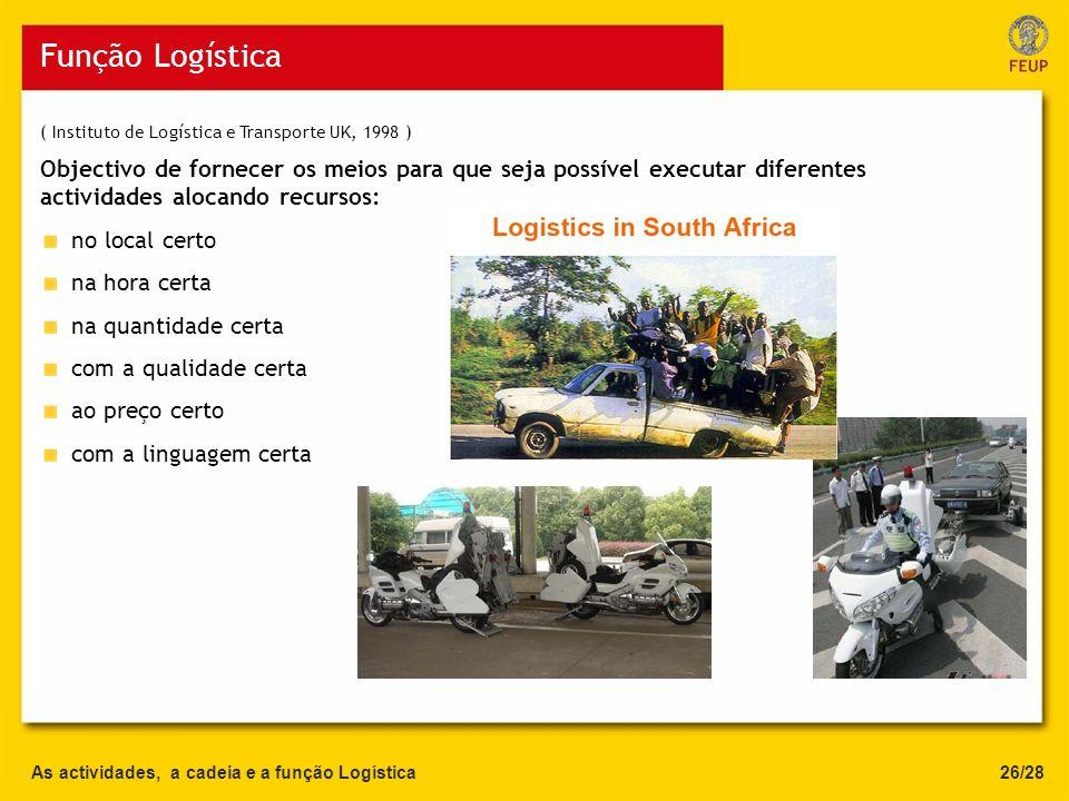 As actividades, a cadeia e a função Logística Função Logística Objectivo de fornecer os meios para que seja possível executar diferentes actividades a