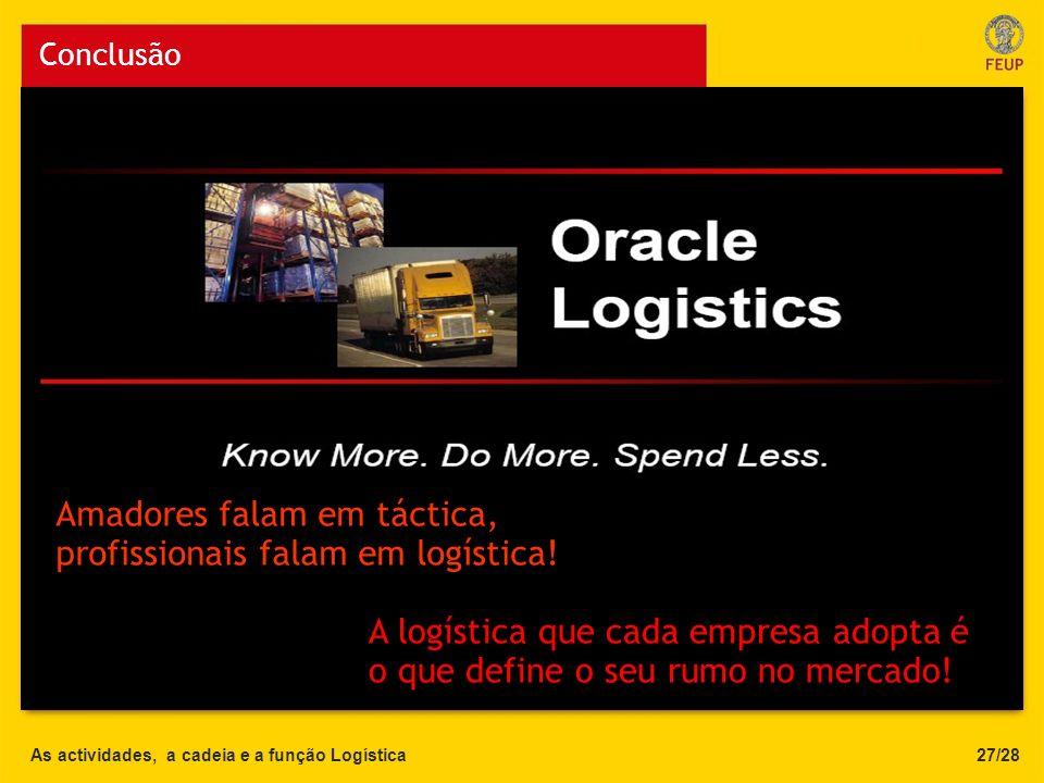 As actividades, a cadeia e a função Logística Conclusão 27/28 Teste 1 Amadores falam em táctica, profissionais falam em logística! A logística que cad