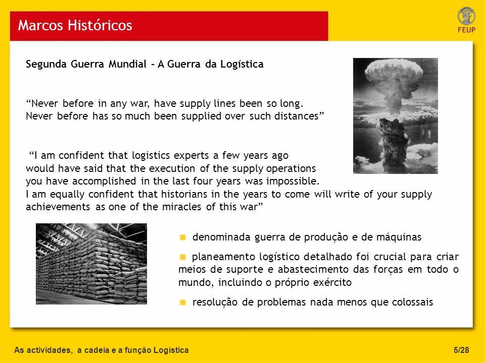 Marcos Históricos As actividades, a cadeia e a função Logística5/28 Segunda Guerra Mundial – A Guerra da Logística Never before in any war, have suppl