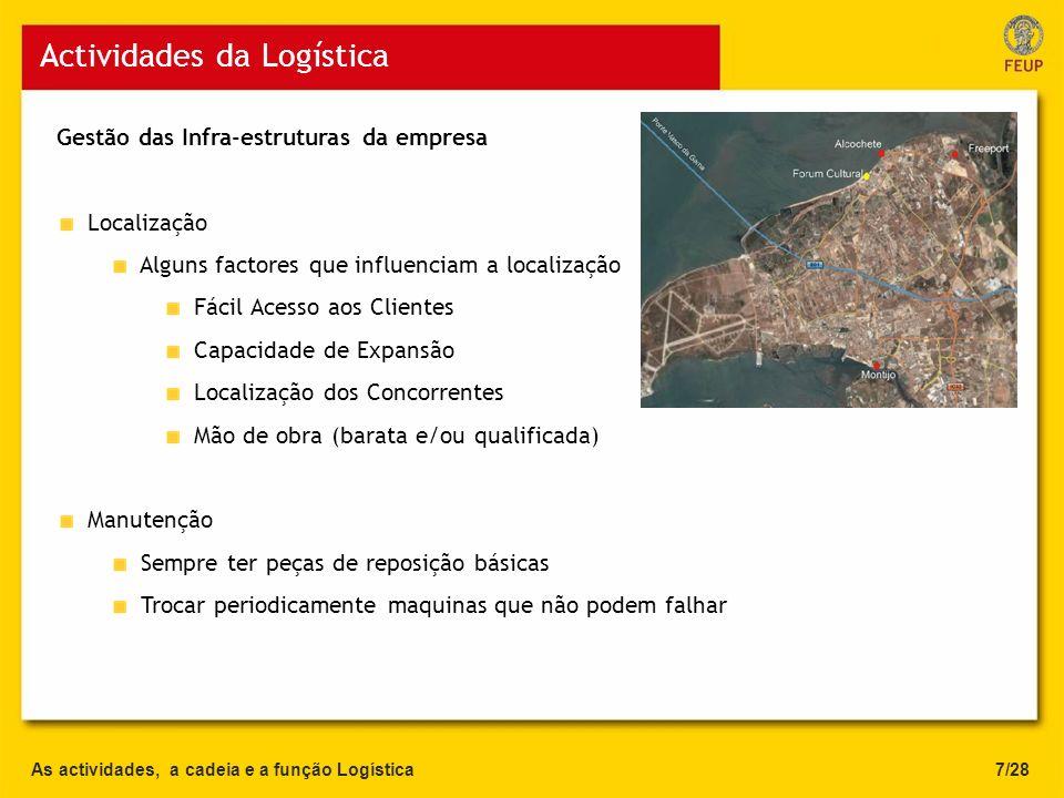 Gestão das Infra-estruturas da empresa Localização Alguns factores que influenciam a localização Fácil Acesso aos Clientes Capacidade de Expansão Loca