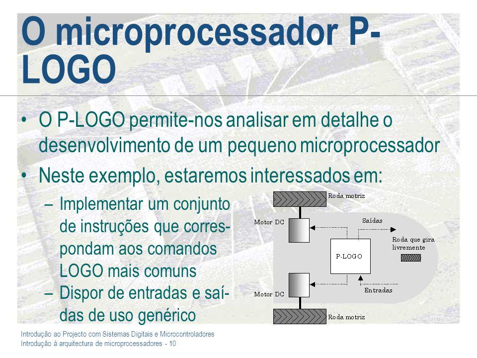 Introdução ao Projecto com Sistemas Digitais e Microcontroladores Introdução à arquitectura de microprocessadores - 10 O microprocessador P- LOGO O P-