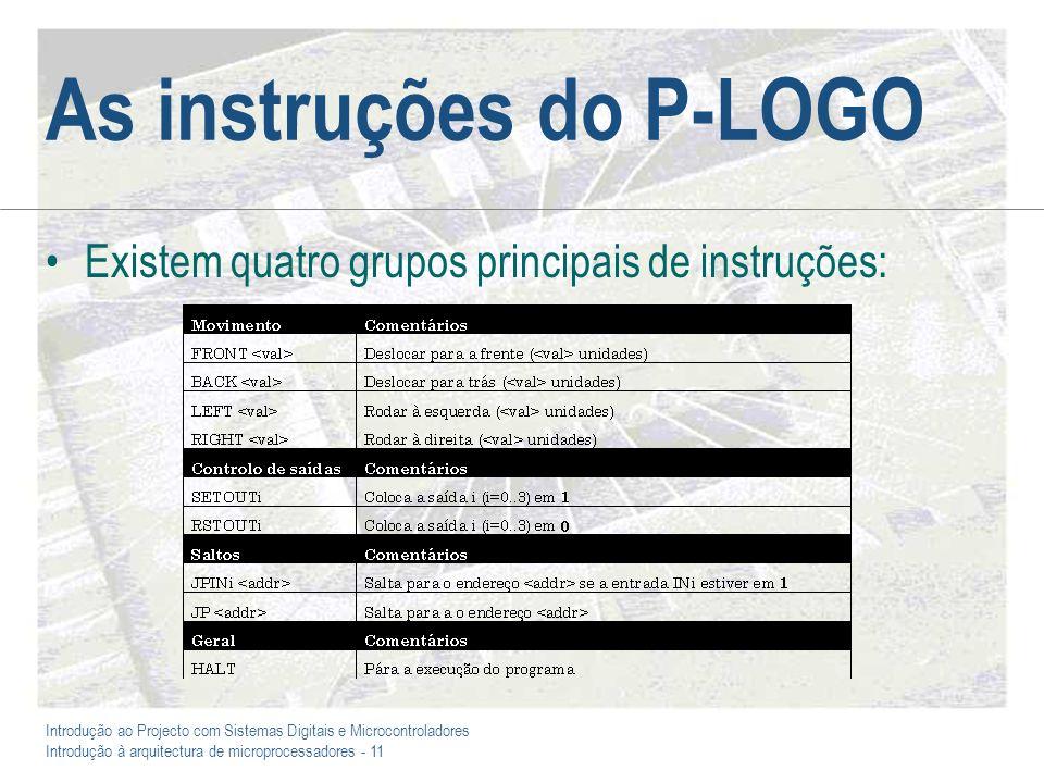 Introdução ao Projecto com Sistemas Digitais e Microcontroladores Introdução à arquitectura de microprocessadores - 11 As instruções do P-LOGO Existem quatro grupos principais de instruções: