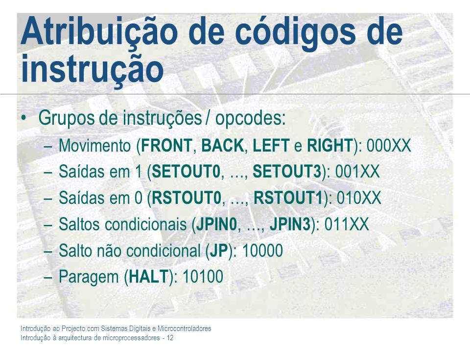 Introdução ao Projecto com Sistemas Digitais e Microcontroladores Introdução à arquitectura de microprocessadores - 12 Atribuição de códigos de instrução Grupos de instruções / opcodes: –Movimento ( FRONT, BACK, LEFT e RIGHT ): 000XX –Saídas em 1 ( SETOUT0, …, SETOUT3 ): 001XX –Saídas em 0 ( RSTOUT0, …, RSTOUT1 ): 010XX –Saltos condicionais ( JPIN0, …, JPIN3 ): 011XX –Salto não condicional ( JP ): 10000 –Paragem ( HALT ): 10100