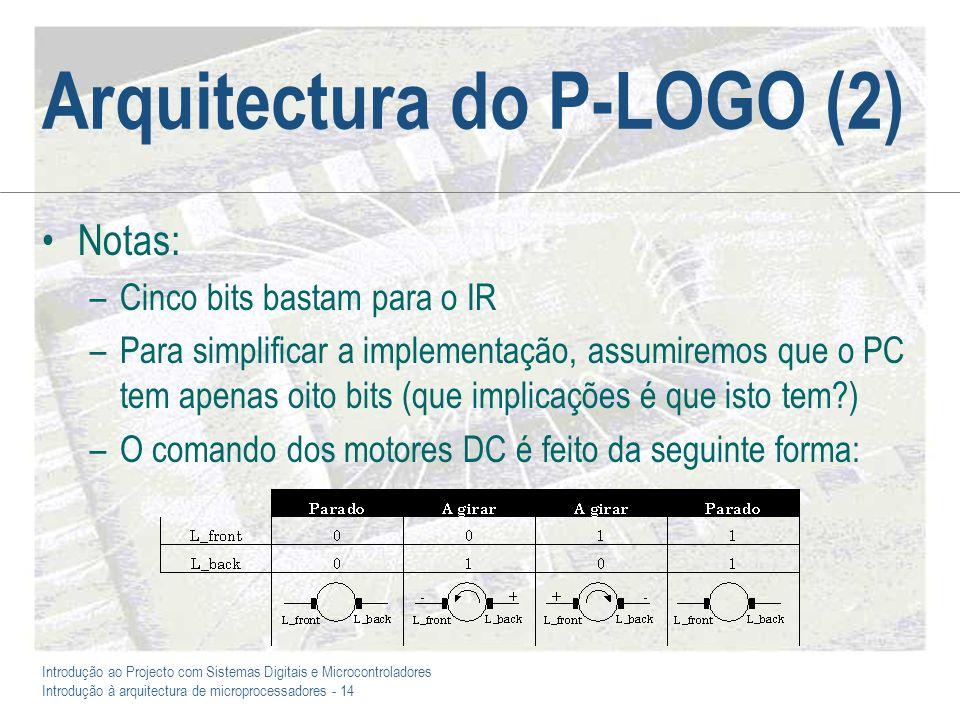 Introdução ao Projecto com Sistemas Digitais e Microcontroladores Introdução à arquitectura de microprocessadores - 14 Arquitectura do P-LOGO (2) Nota